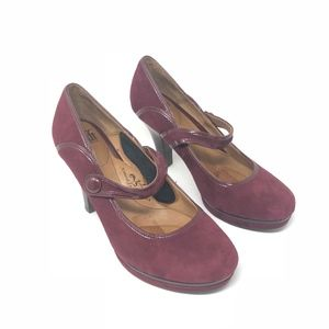 Söfft Womens Plum Suede Leather Mary Jane Heels